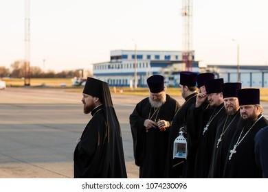 07 April 2018 - Kiev, Ukraine: The clergy of the Ukrainian Orthodox Church. Priests from the Ukrainian Orthodox Church.