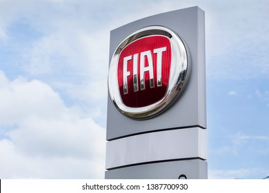 07 of August 2017 - Vinnitsa, Ukraine. Showroom of FIAT  logo on a stand