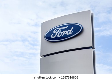 07 of August 2017 - Vinnitsa, Ukraine. Showroom of  FORD logo on a stand