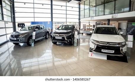 07 of August 2017 - Vinnitsa, Ukraine. Showroom of  Mitsubishi