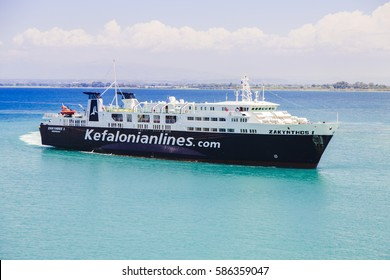 07 july 2016. Arrival of black, high-end ferry to the island of Zakynthos, Greece