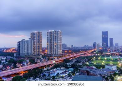 07 June 2015 in Hanoi Vietnam, Aerial view of Hanoi cityscape at twilight