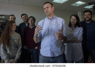 07 June 2017, RUSSIA, MOSCOW : Russian opposition leader Alexei Navalny is seen after being released from jail aftermath of 25 days in prison for organising unauthorised protests in Moscow, Russia.