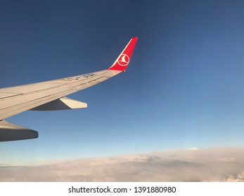 07 MAY 2019 Istanbul-Turkey: Turkish Airlines airplane wing let at the sky