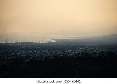 07 November , 2012: Cyprus / kyrenia .Morning fog, colored sky and wonderful landscape .