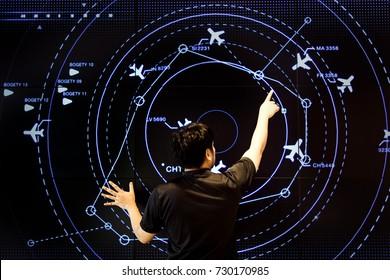 07 October 2017,Nakorn Rajsima ,Thailand ,The man control air traffic on digital screen like hi technology