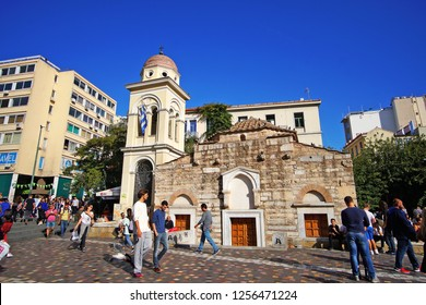 07 OCTOBER 2018, ATHENS, GREECE People in the square of Monastiraki in Athens