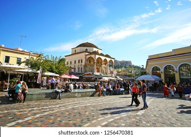 07 OCTOBER 2018, ATHENS, GREECEView of Monastiraki with the Parthenon in the background in Athens
