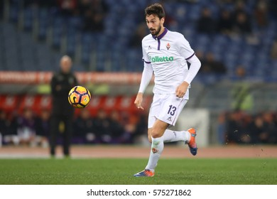 07.02.2017. Stadio Olimpico, Rome, Italy. Serie A football. As Roma  vs Fiorentina.Dzeko and Astori  in action during the match.