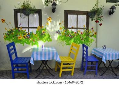 07/04/2016- Kuzguncuk, Istanbul, Turkey. Colorful street restaurant of the town.