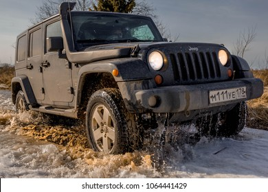 07.04.2018. Leningrad region. Karelia, Russia. Jeep Wrangler off-road. The jeep Wrangler is an SUV produced by Chrysler