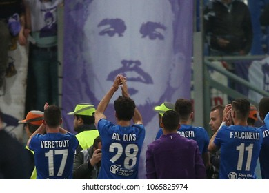 07.04.2018. Stadio Olimpico, Rome, Italy. Serie A. AS Roma vs Fc Fiorentina. Fiorentina team celebrates the victory at the end of  the Serie A football match  at Stadio Olimpico in Rome.