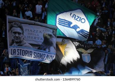 07.04.2019. Stadio Olimpico, Rome, Italy. Serie A. CURVA NORD LAZIO SUPPORTERS   during the match S.S. Lazio vs Sassuolo at Stadio Olimpico in Rome.