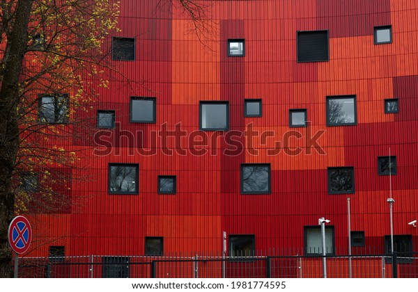 07.05.2021, Riga, Latvia, The red building of local features