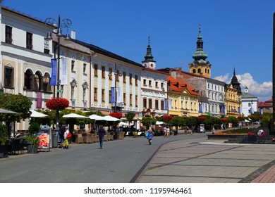 07.08.2018.  Ancient city  Banska Bystrica. Central Slovakia. Old town, the main square with historic architecture on a summer day. Popular tourist destination at summer and winter tourist attraction