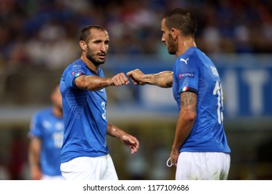 07.09.2018. Bologna, Italy: LEONARDO BONUCCI, GIORGIO CHIELLINI in action during the  match UEFA Nations League , Group 3, football match between ITALY V POLAND in DALL'ARA STADIUM IN BOLOGNA.
