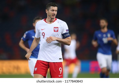 07.09.2018. Bologna, Italy: ROBERT LEWANDOWSKI in action during the  match UEFA Nations League , Group 3, football match between ITALY V POLAND in DALL'ARA STADIUM IN BOLOGNA.