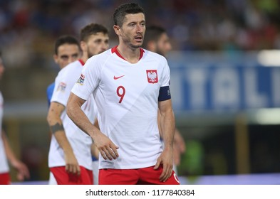 07.09.2018. Bologna, Italy:ROBERT LEWANDOWSKI  in action during the  match UEFA Nations League , Group 3, football match between ITALY V POLAND in DALL'ARA STADIUM IN BOLOGNA.