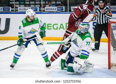 07.12.2018. RIGA, LATVIA.  Kontinental Hockey League (KHL) 2018/2019 season game Dinamo Riga vs. Salavat.