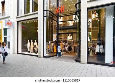 Düsseldorf,GERMANY-JUNE 07,2018: HM fashion store.