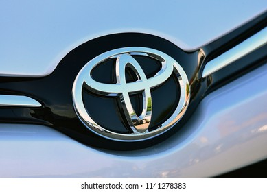 Düsseldorf,GERMANY-JUNE 07,2018: TOYOTA cars logo.Toyota Motor Corporation is a Japanese multinational automotive manufacturer headquartered in Toyota, Aichi, Japan.