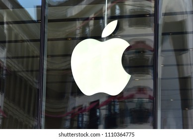 Düsseldorf,GERMANY-JUNE 07,2018:APPLE store and logo. Apple Inc. is an American multinational technology company headquartered in California.
