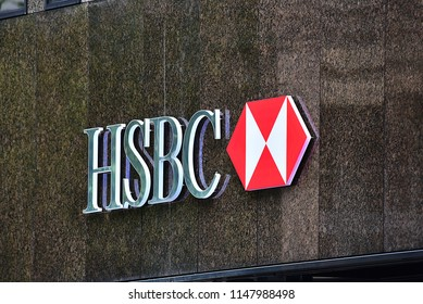 Düsseldorf,GERMANY-JUNE 07,2018:exterior of HSBC bank.HSBC Bank plc is one of the largest banking and financial services organisations in the world.