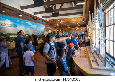 07/27/2019 - Sequoia Park, CA: Tourists and visitors at Giant Forest Museum. Museum for the history & ecology of the giant sequoia forest, with exhibits & interpretive trails.