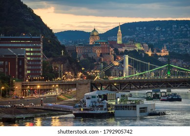 07.28.2020. Budapest Hungary. You can see the Liberty bridge Erzsebet bridge Buda royal castle Fishermens bastion danube river and famous concert boat in the foreground A38 Boat on the foreground