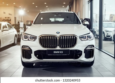 08 of Fabruary, 2018 - Vinnitsa, Ukraine. New BMW X5 car presentation in showroom - front side