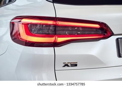 08 of Fabruary, 2018 - Vinnitsa, Ukraine. New BMW X5 car presentation in showroom - rear headlight