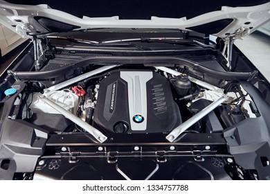 08 of Fabruary, 2018 - Vinnitsa, Ukraine. New BMW X5 car presentation in showroom - under the hood