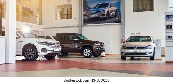 08 of February 2019 - Vinnitsa, Ukraine. Showroom of Volkswagen VW
