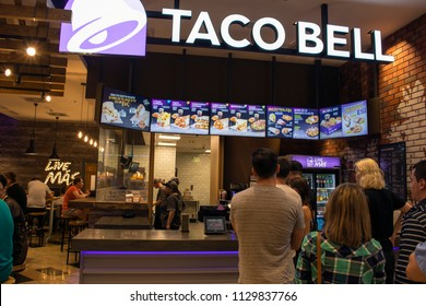08 July 2018-Bucharest, Romania. The interior of the Taco Bell restaurant inside the public mall, Baneasa