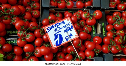 08 June 2018, Istanbul-Turkey: tomato stand in the neighborhood market