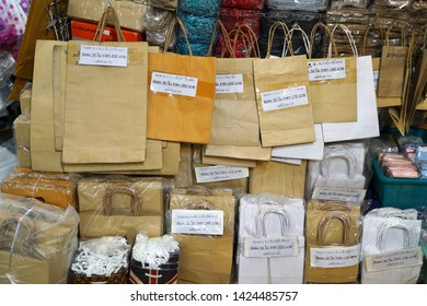 08 June 2019; Bangkok Thailand: Paper bags Shopping bags Packaging Shop at Chatuchak Jatujak JJ Weekend Market, The largest market in the world.