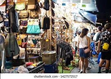 08 June 2019; Bangkok Thailand: Night Market at Chatuchak Jatujak JJ Weekend Market, The largest market in the world.