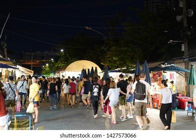 08 June 2019; Bangkok Thailand: Walking Street at night at Chatuchak Jatujak JJ Weekend Market, The largest market in the world.