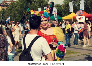 08 June 2019 Bulgaria Attractive Transsexual talking with a guy during the Sofia Pride parade Selective focus