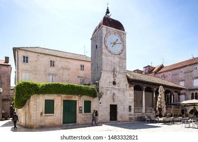 08 MAY 2019, Trogir, Croatia. The Clock Tower and City Loggia in Trogir