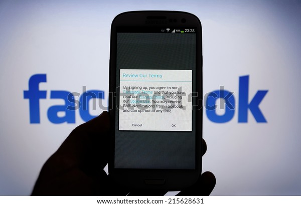 08 September 2014 Istanbul, Turkey: Facebook Term & Privacy page on mobile phone. More than 425 million active users access Facebook through mobile devices in 60 countries.