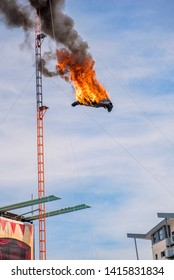 08.05.2015. Margate, Kent, UK. High diving stuntman covered in flames