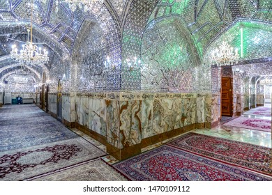 08/05/2019 Yazd,Yazd provinceIran, Interior Imam Zadeh Jafar mosque, incredibly adorned with a huge amount of silver