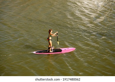 08-06-2013 – 07:26:11 a girl riding a ROW-BOAT along with her pet dog in the water of Shem-Creek at city of Charleston. USA