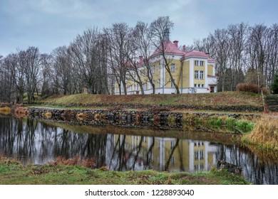 08/11/2018 Priozersk City Leningrad Oblast Russia historic Military sanatorium building on the Vuoksa River in late autumn in November
