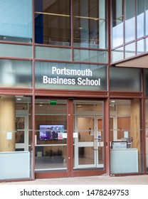 08/12/2019 Portsmouth, Hampshire, UK the entrance to Portsmouth Business school a part of the university of Portsmouth