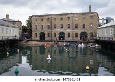 08/13/2019 Portsmouth, Hampshire, UK Action stations museum inside Portsmouth Historic Dockyard