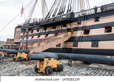 08/13/2019 Portsmouth, Hampshire, UK the gangway of HMS Victory in Portsmouth dockyard, The worlds oldest commissioned warship, nelsons flag ship from the battle of trafalgar