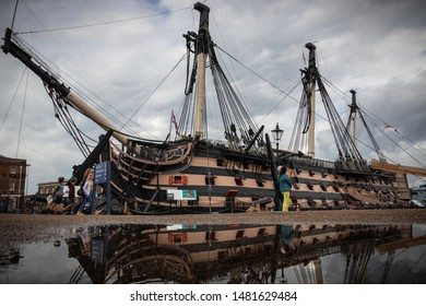 08/13/2019 Portsmouth, Hampshire, UK HMS Victory Admiral Lord Nelsons flag ship from the battle of trafalgar docked in Portsmouth Historic Dockyard