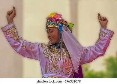 08.14.2017,Urla,Izmir,Turkey,Urla vintage festival girl playing folklore